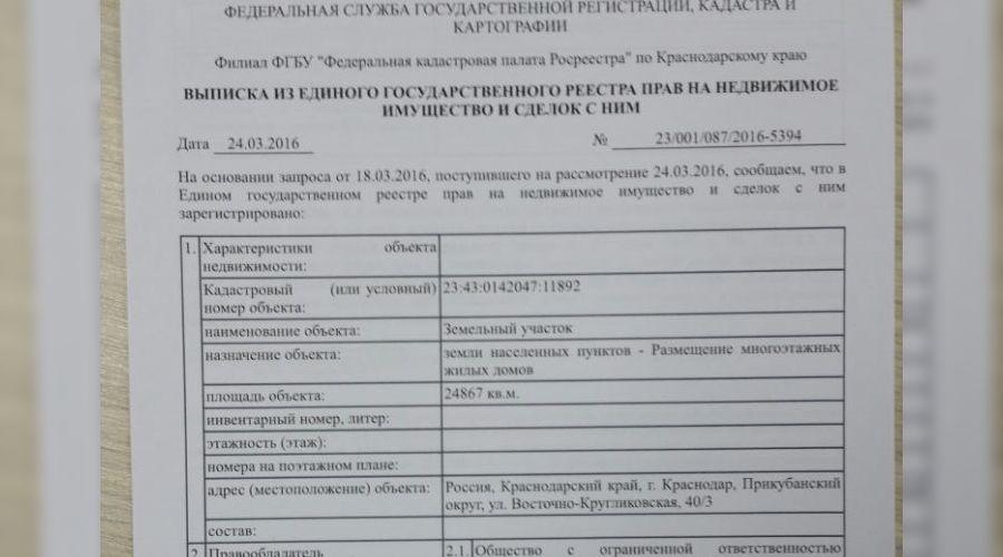 Выписка из Росеестра по участку 23:43:0142047:11892 ©Фото Юга.ру