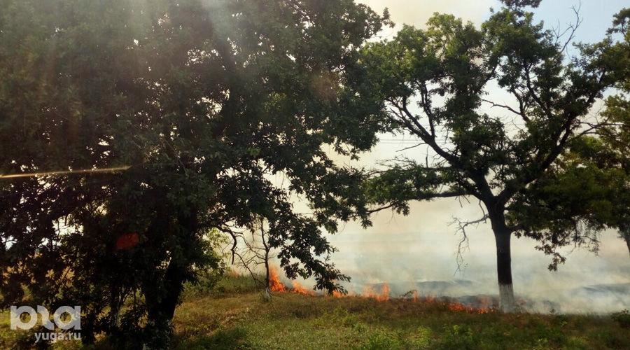 Возгорание сухой травы ©Фото Евгения Мельченко, Юга.ру