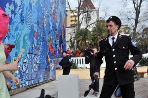 Казак из Сочи, избивший плеткой участниц Pussy Riot и фотографа ©Фото Юга.ру