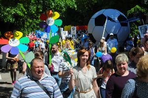 Первомайское шествие в Краснодаре ©Фото Дмитрия Леснова, ЮГА.ру