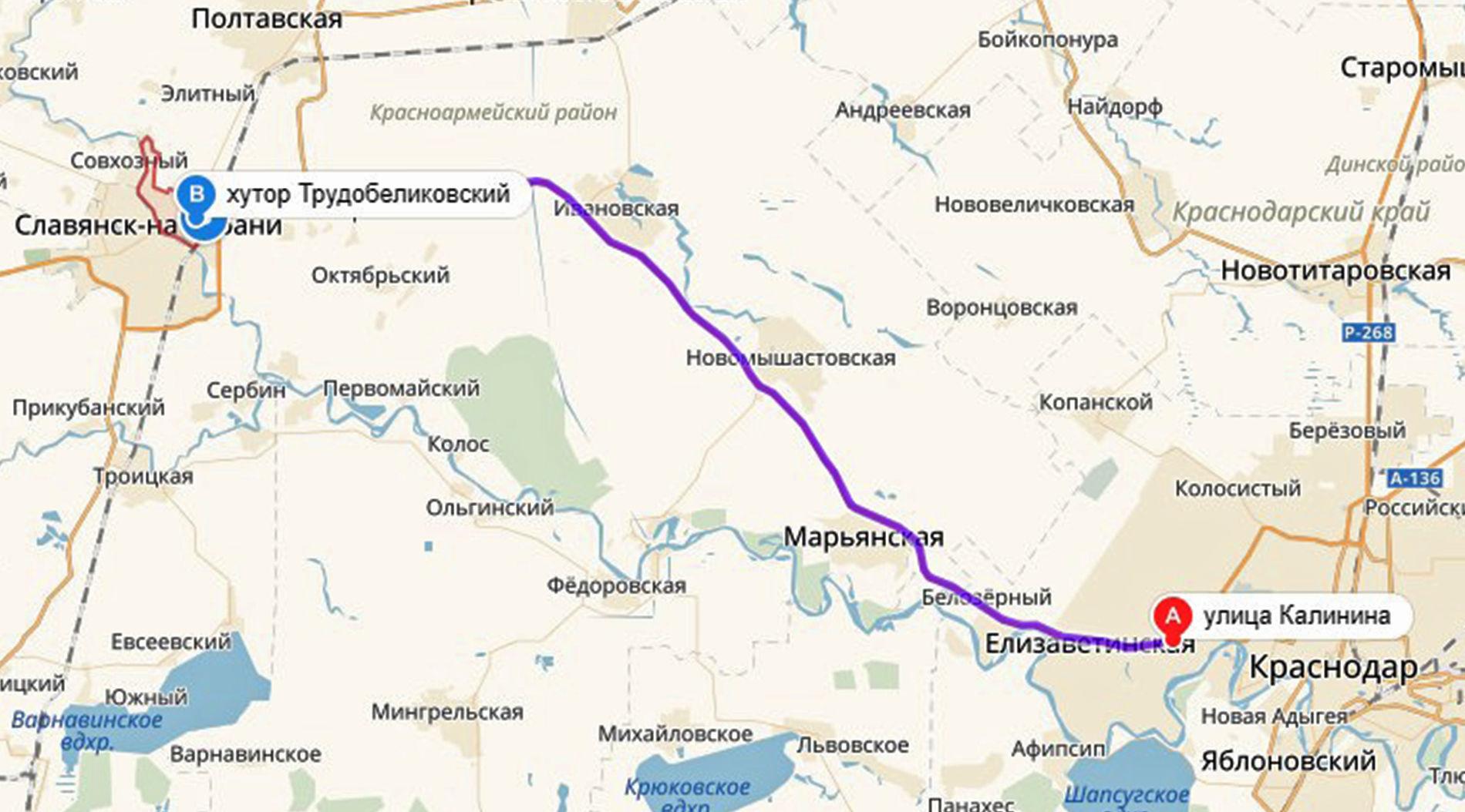 Маршрут Краснодар — Анапа ©Графика «Яндекс.Карты»