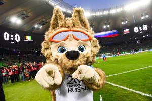 Официальный талисман Чемпионата мира по футболу 2018 года — волк Забивака ©Фото Елены Синеок, Юга.ру