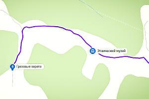 Маршрут к Грозовым Воротам. Поворот после реки Жане ©Графика сервиса «Яндекс.Карты»