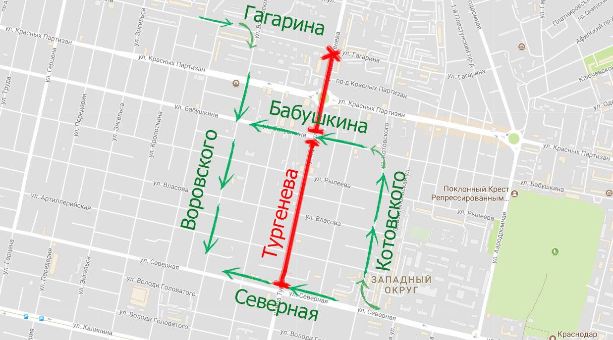 Схема объезда Тургенева на 4-м этапе ремонта ©Скриншот карт Google