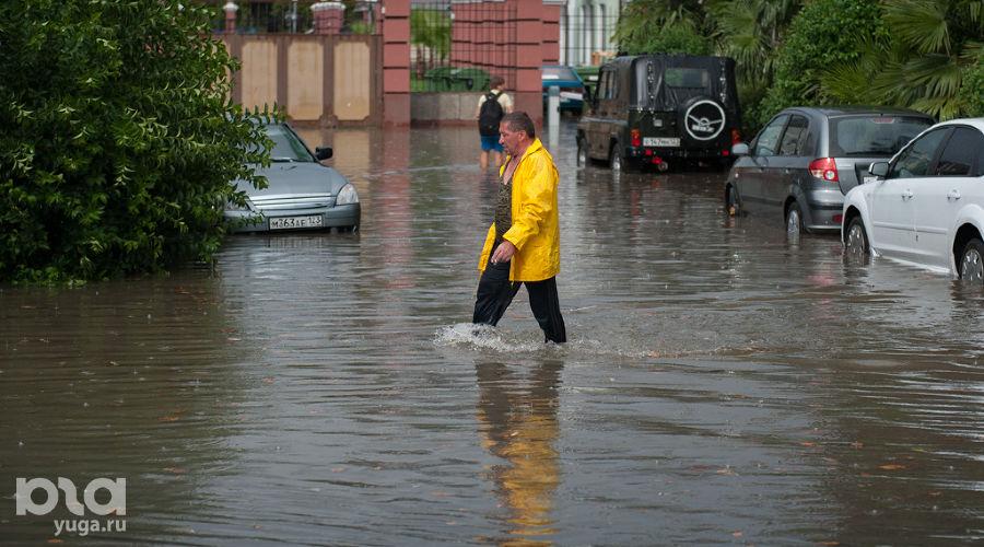 Подтопление в Центральном районе Сочи ©Нина Зотина, ЮГА.ру