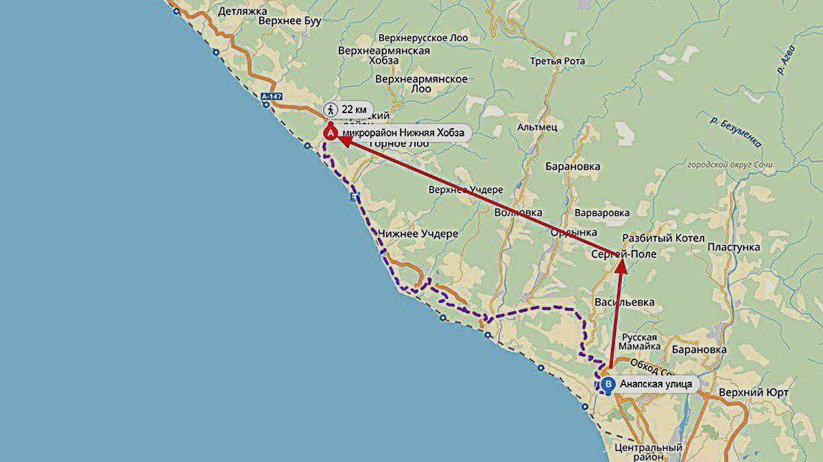 Предполагаемый маршрут из Мамайки в Нижнюю Хобзу ©Графика сервиса «Яндекс.Карты»