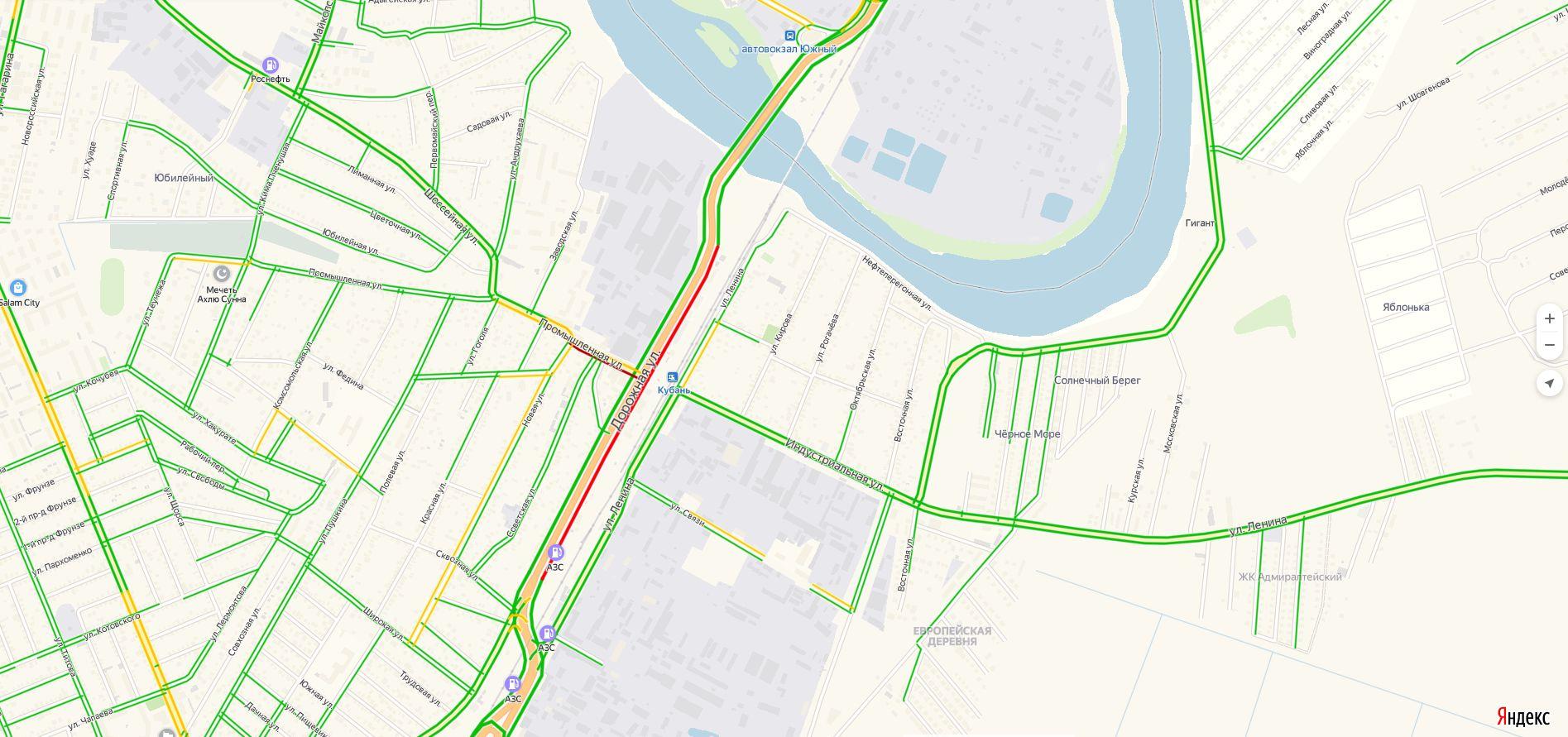 Въезд в Краснодар через Яблоновский мост ©Скриншот из сервиса «Яндекс. Навигатор»