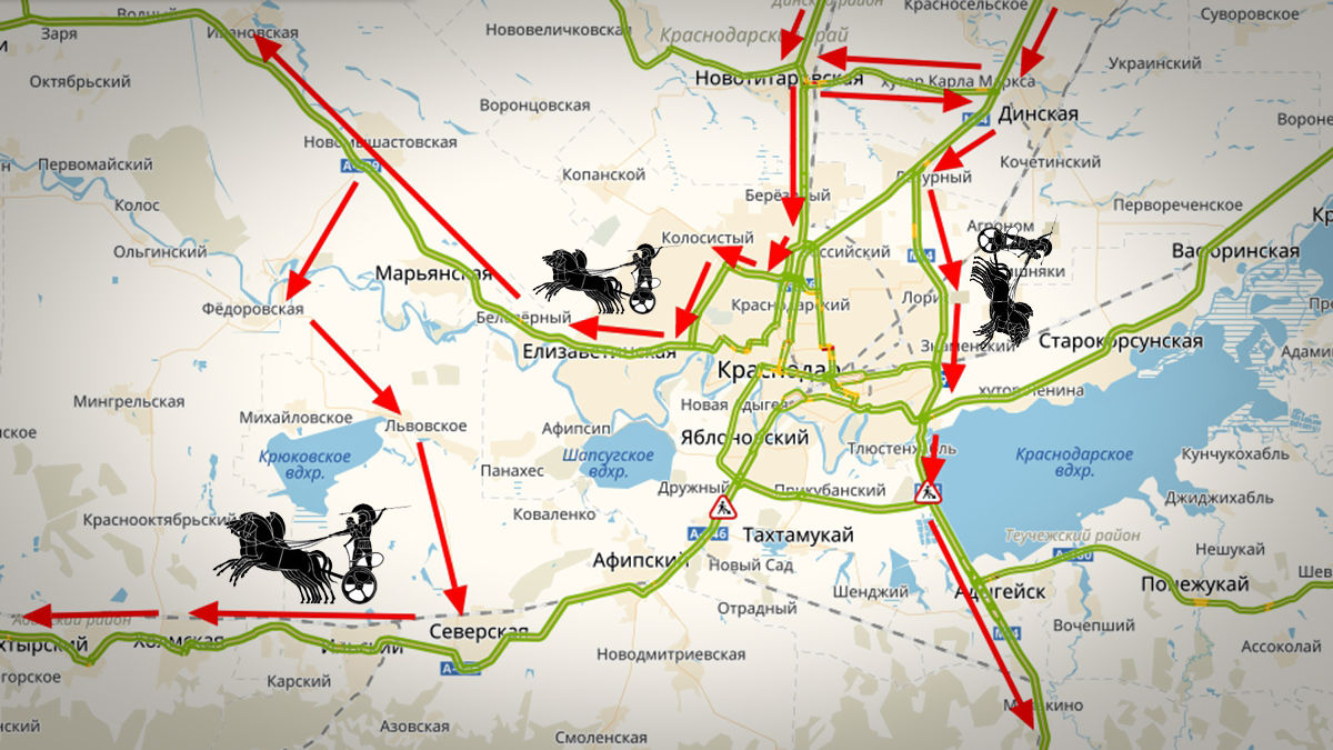 Маршруты в объезд города. Для транзитного транспорта ©Графика сервиса «Яндекс.Карты»