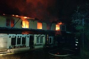Пожар на улице Шоссейной в Хостинском районе Сочи ©Фото предоставлено ЮРПСО МЧС России