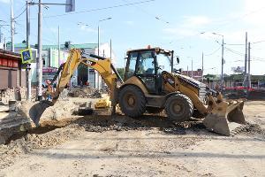 Ремонт дороги на перекрестке улиц Тургенева и Северной ©Фото пресс-службы администрации Краснодара