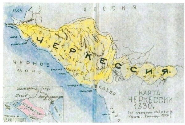 Карта Черкесии, 1830 г.