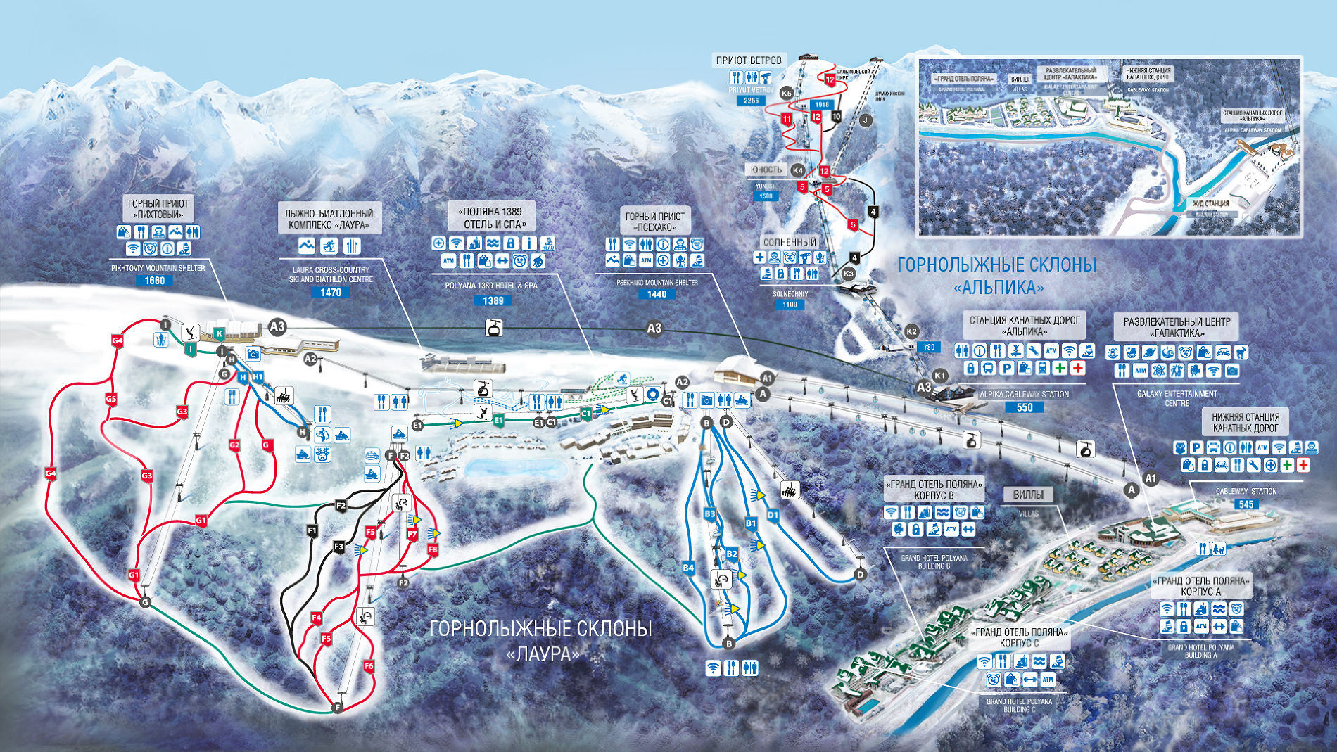 Схема горнолыжного туристического центра «Газпром» ©Иллюстрация предоставлена пресс-службой курорта
