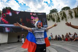 Матч Россия — Уругвай посмотрели в парке «Краснодар» ©Фото Елены Синеок, Юга.ру