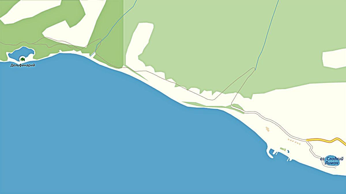 Пляжи Дюрсо и Утриша ©Графика сервиса «Яндекс.Карты»