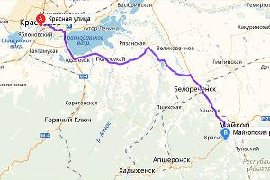 Краснодар — Майкоп ©Графика «Яндекс.Карты»