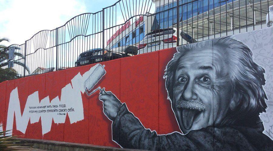В Сочи на подпорной стене нарисовали граффити с Альбертом Эйнштейном ©Фото пресс-службы администрации Сочи