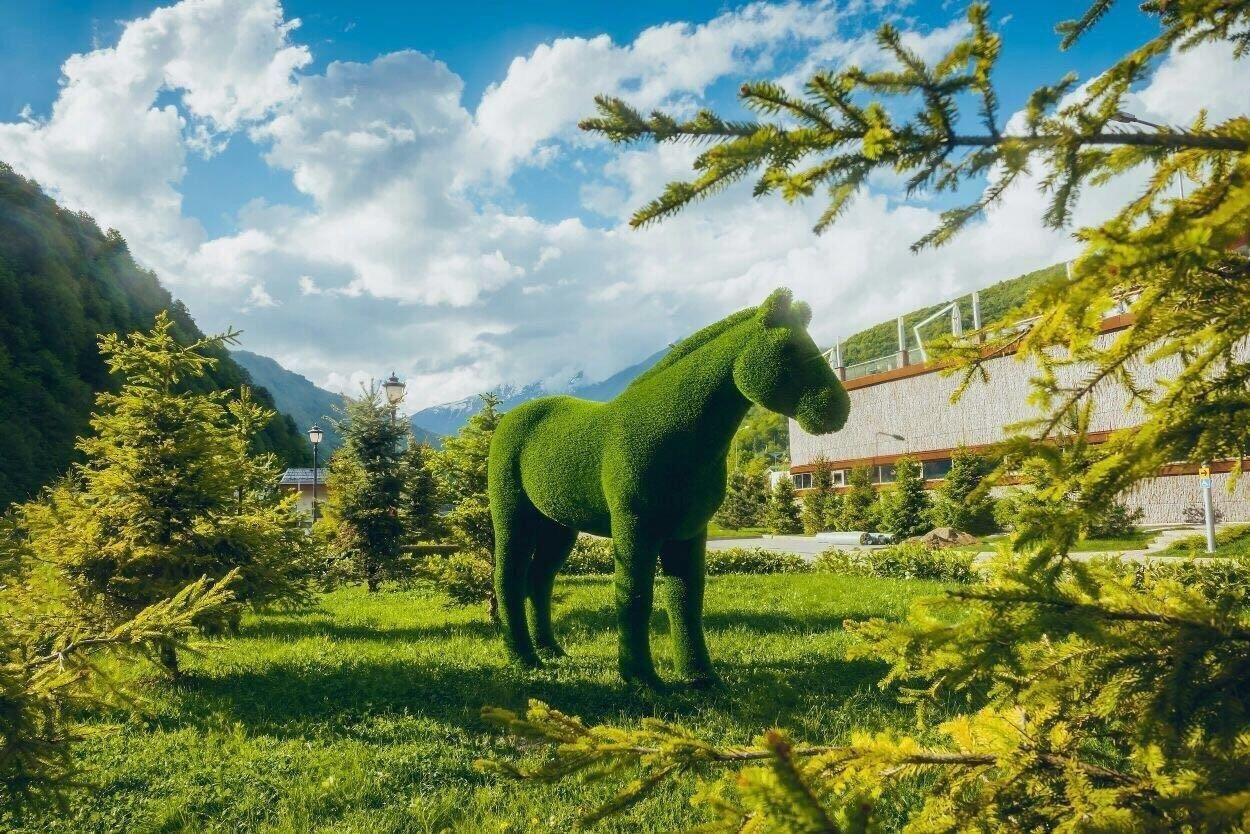 ВКрасной Поляне создали парк немалых фигур животных «Зеленая планета»