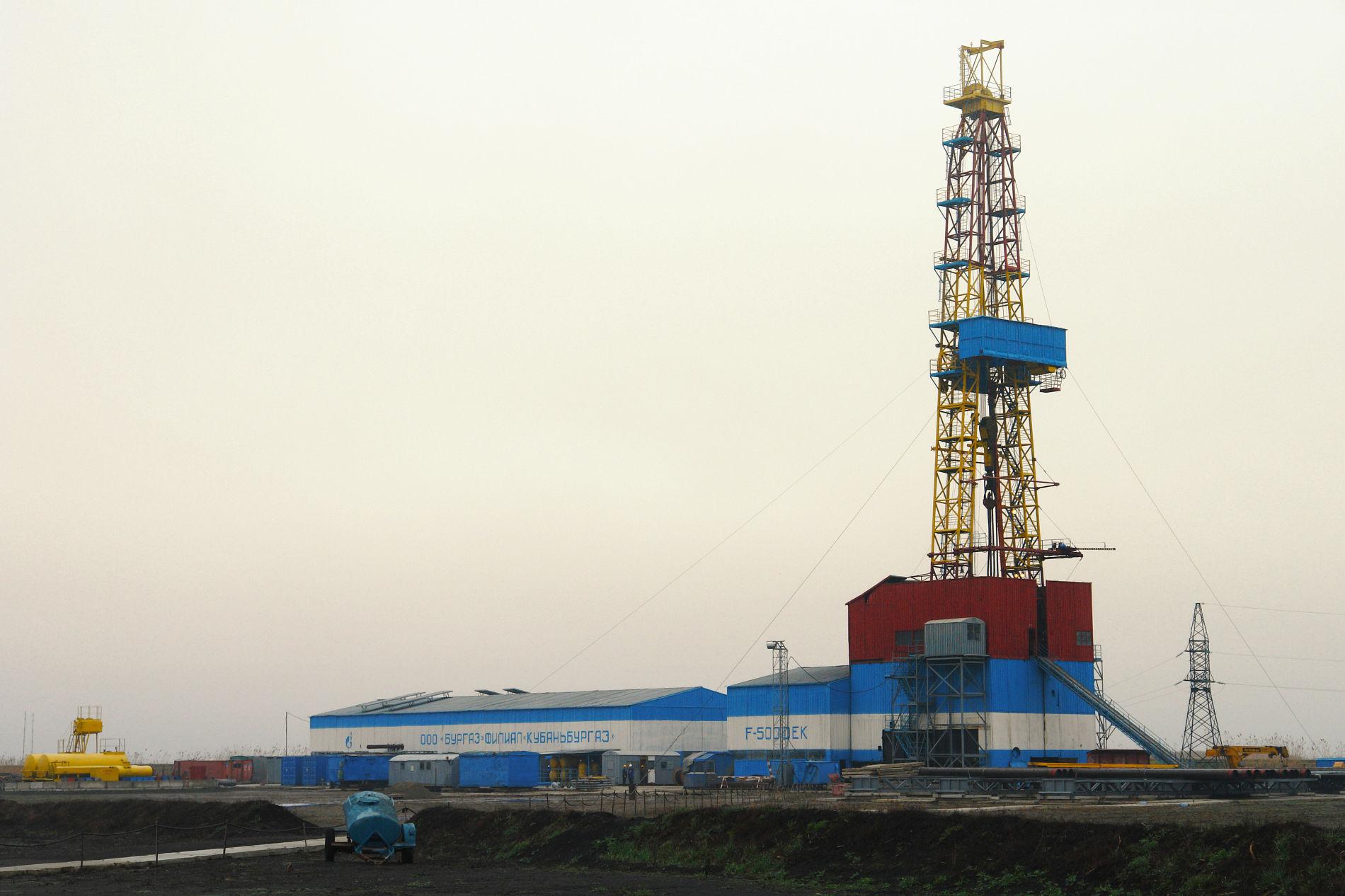 Буровая установка на Крупской площади ©Изображение предоставлено пресс-службой ООО «Газпром добыча Краснодар»