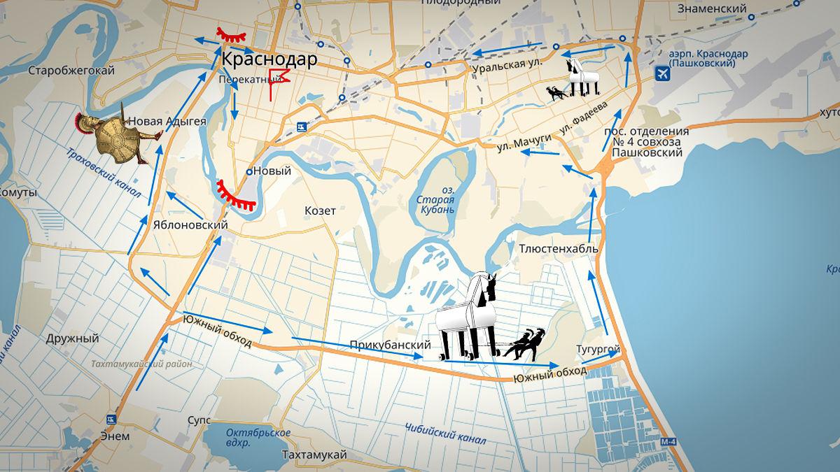 Маршруты в обход Яблоновского моста ©Графика сервиса «Яндекс.Карты»