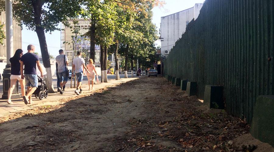 В Краснодаре отодвинули забор на улице Красной между Пашковской и Длинной, 2017 год ©Фото Юга.ру