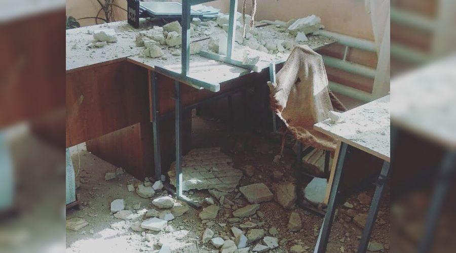 Последствия землетрясения в школе № 4 Буйнакска  ©Фото из группы «Мой Дербент 24», vk.com/myderbentplus