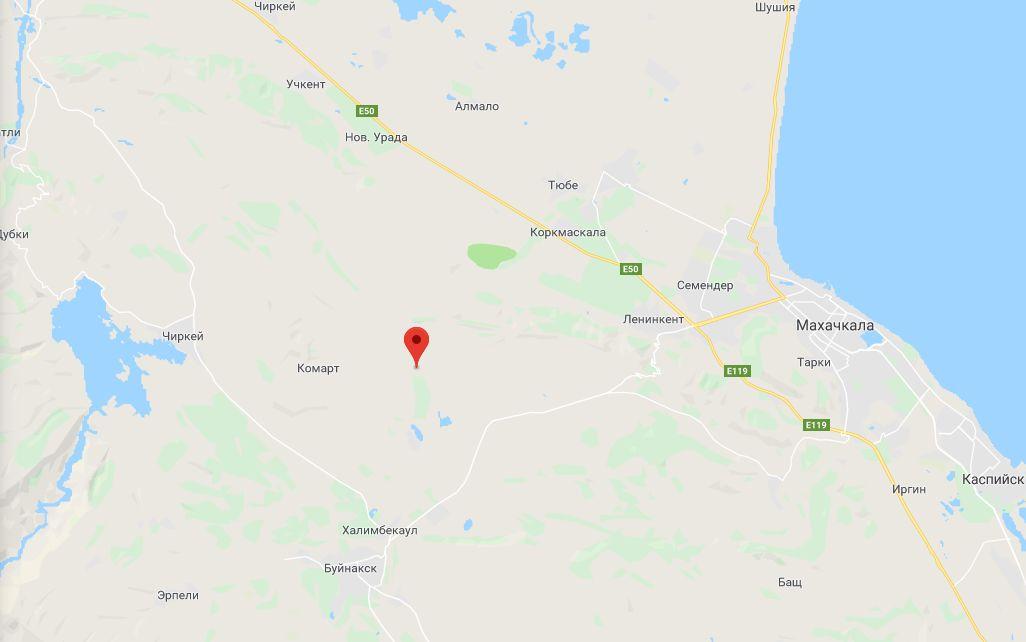 Землетрясение в Буйнакском районе Дагестана ©Скриншот страницы сайта www.google.com/maps