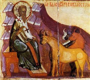 Святой Власий, русская икона, XV век.