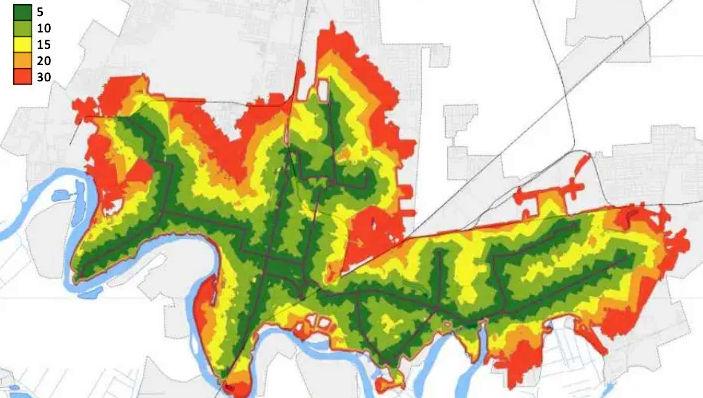 Тепловая карта доступности трамвая для краснодарцев ©«Городские решения»