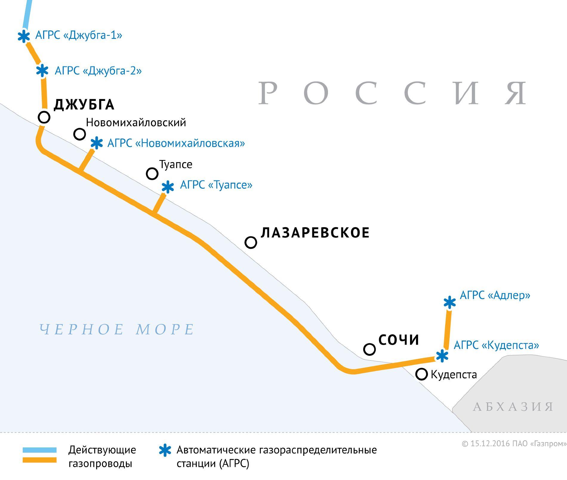 Схема газопровода Джубга — Лазаревское — Сочи ©gazprom.ru