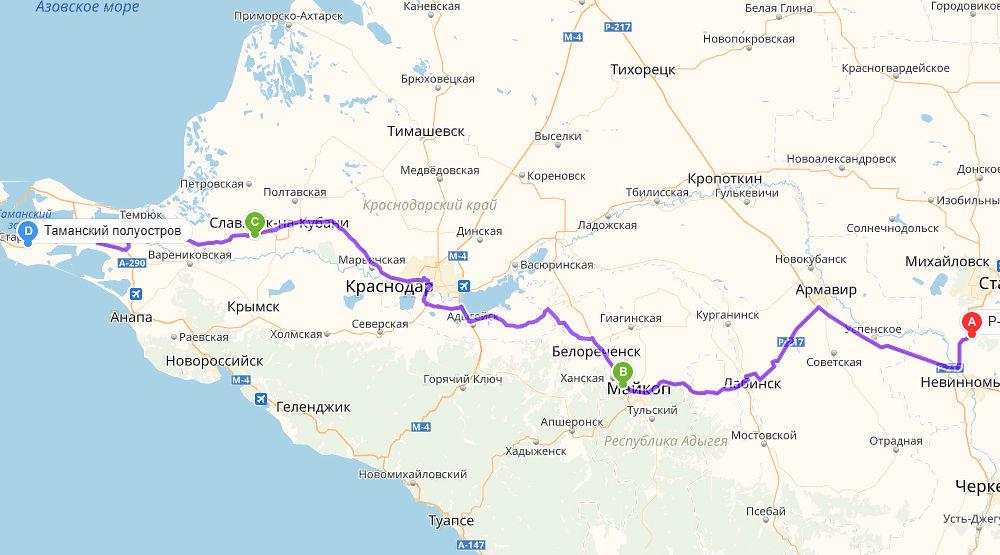 Маршрут со стороны Ставрополя ©Скриншот с сервиса «Яндекс.Карты»
