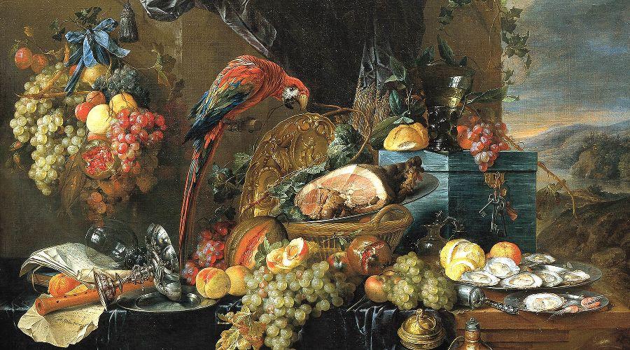 «Роскошный натюрморт с попугаем», Ян Давидс де Хем, 1650 год, картина находится в Картинной галерее Академии изящных искусств Вены ©Фото с сайта wikipedia.org