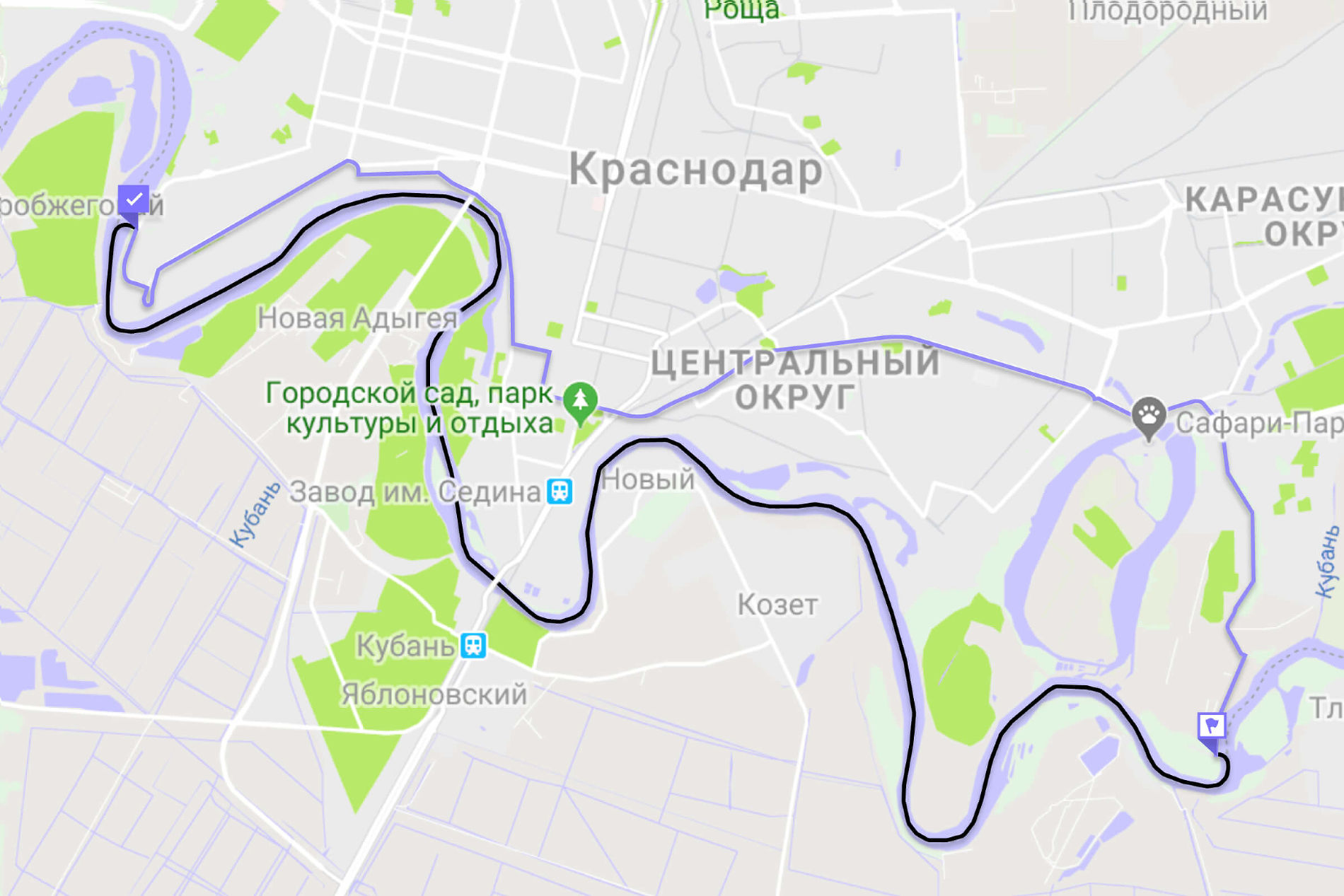 Маршрут по реке Кубани