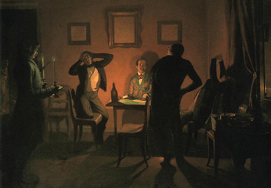 «Игроки», П.А.Федотов, 1852 год, картина находится в Киевском музее русского искусства (Украина)
