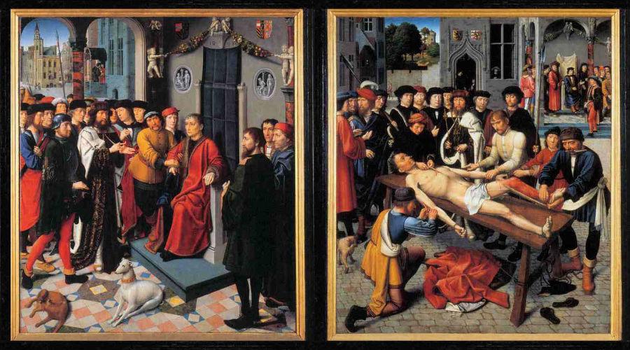 Слева — «Арест неправедного судьи Сисамна»; справа — «Казнь неправедного судьи Сисамна». Диптих «Сдирание кожи с продажного судьи» (1498 г.) ©Автор Герард Давид, общественное достояние