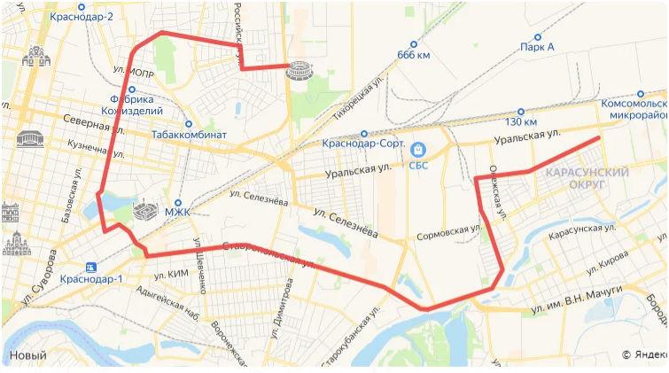 Кратчайший трамвайный маршрут из КМР к стадиону «Краснодар» ©«Городские решения»