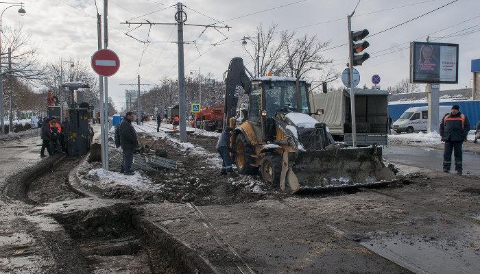 В Краснодаре началось строительство трамвайной линии на улице Московской