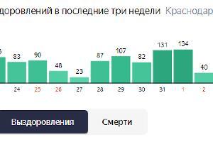 Случаи выздоровлений на Кубани ©Графика с сайта yandex.ru/covid19