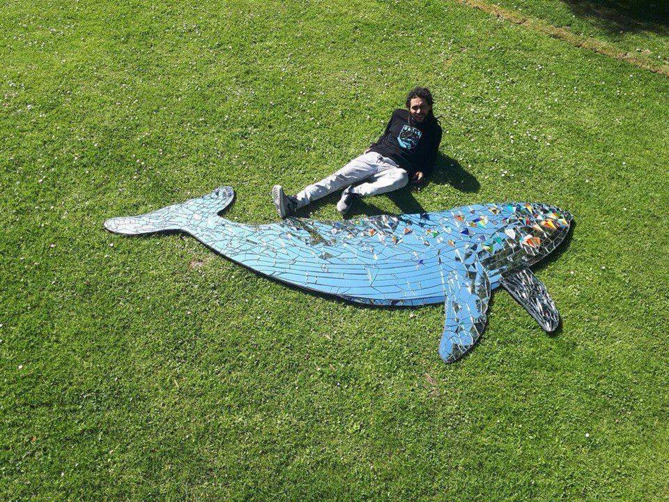 Михаил Кипятков и «Зеркальный кит» ©Фото из группы vk.com/delfacenter