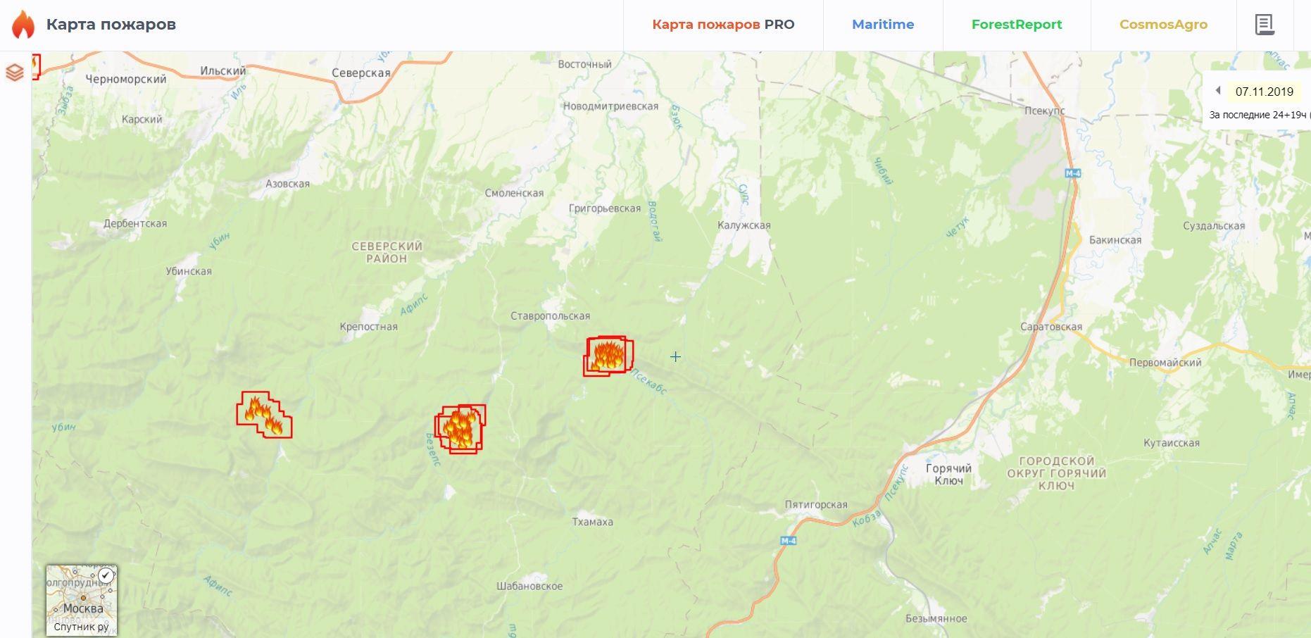 ©Скриншот сервиса «Карта пожаров»