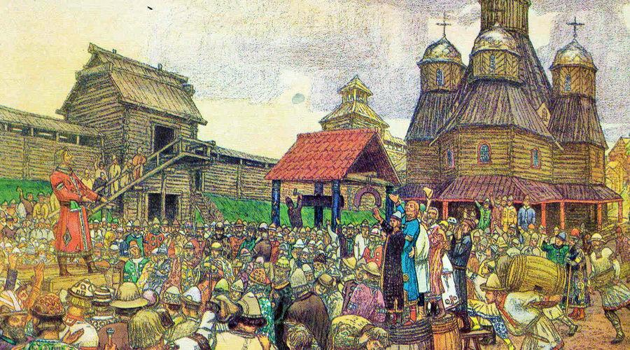 Вече во Пскове ©Картина Аполлинария Васнецова, wikimedia.org