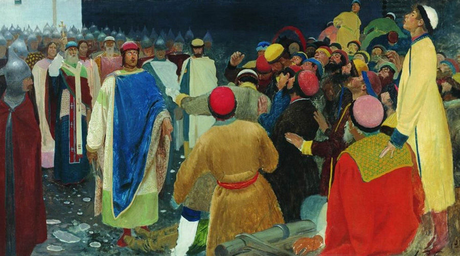 Князь Глеб Святославович убивает волхва на Новгородском вече (Княжий суд) ©Картина Андрея Рябушкина, wikimedia.org