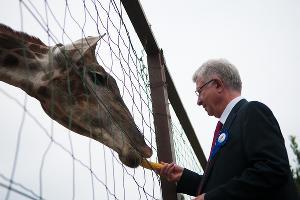 Владимир Евланов и жираф во время Дня города ©Фото Юга.ру