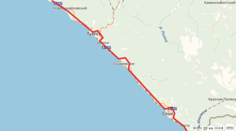 Планируемый маршрут скоростной трассы Джубга — Сочи