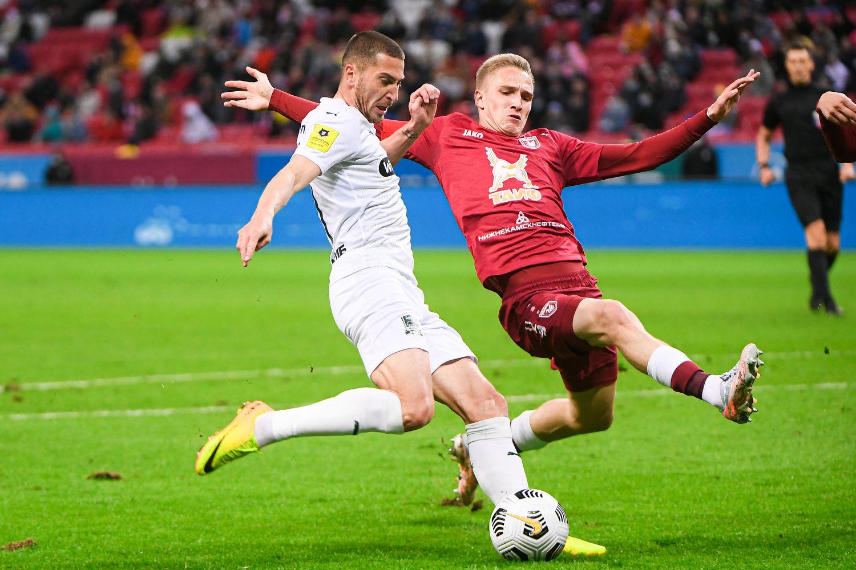 Алексей Ионов забивает гол... ©фото пресс-службы ФК «Краснодар», fckrasnodar.ru
