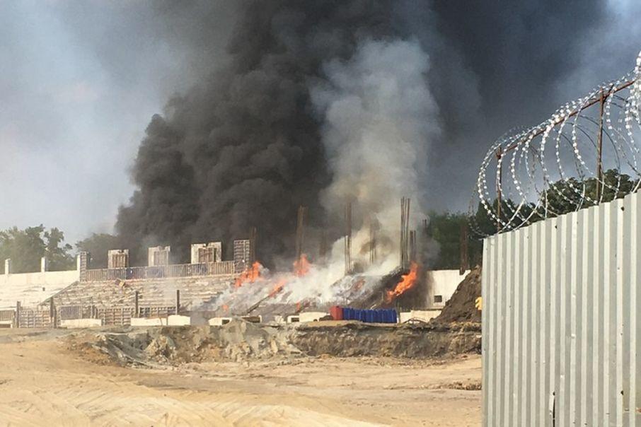 ВТаганроге нареконструируемом кЧМ-2018 стадионе произошел пожар