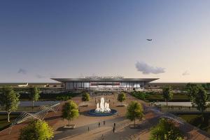 Эскиз нового аэропорта и прилегающей территории ©Изображение из презентации проекта транспортного узла создано художником и не является принятым к исполнению чертежом или техническим заданием