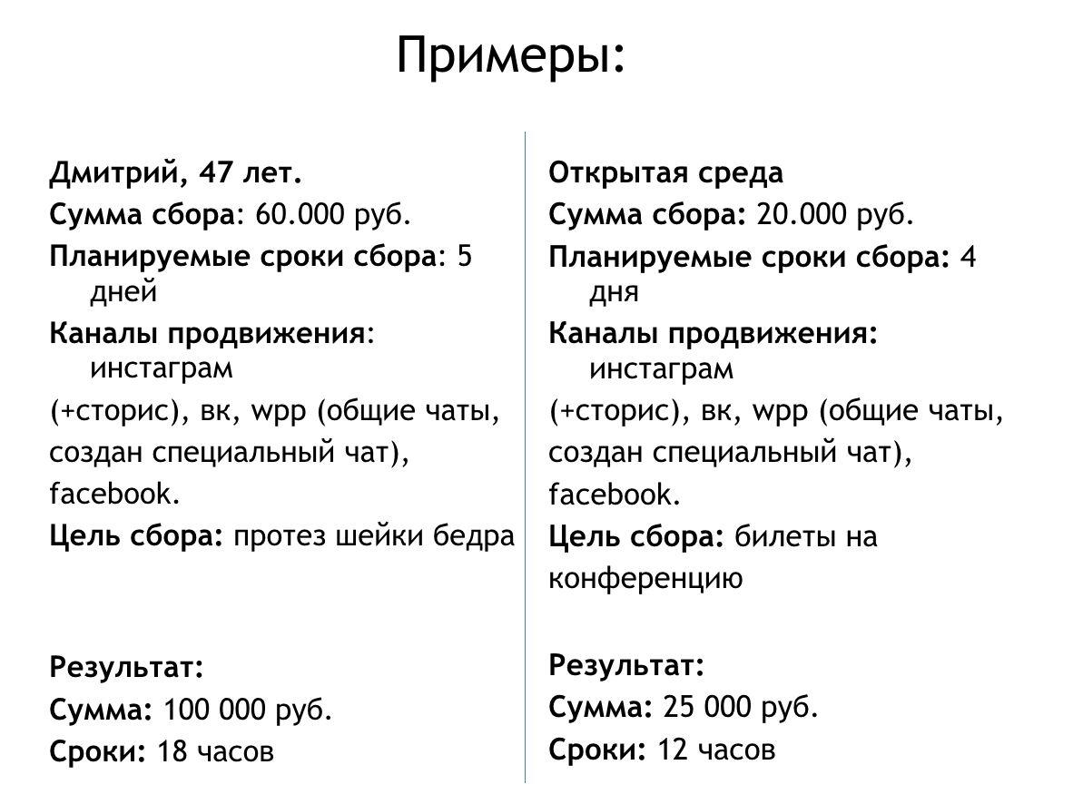 Примеры сборов, организованных Еленой Пастух ©Презентация Елены Пастух