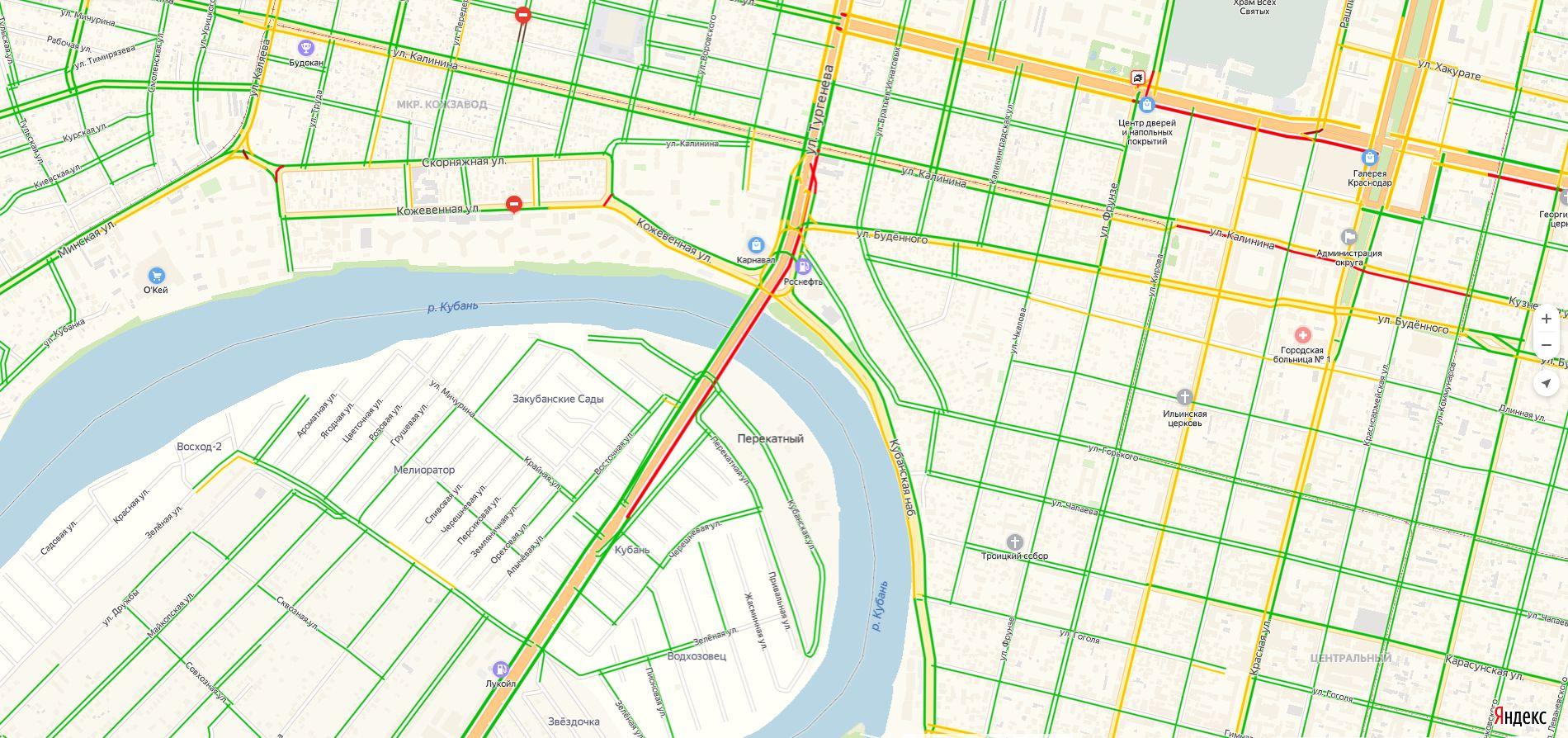 Въезд в Краснодар через Тургеневский мост ©Скриншот из сервиса «Яндекс. Навигатор»