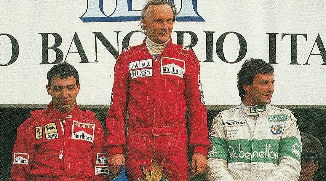 Микеле Альборето, Ники Лауда и Рикардо Патрезе ©Фото it.wikipedia.org