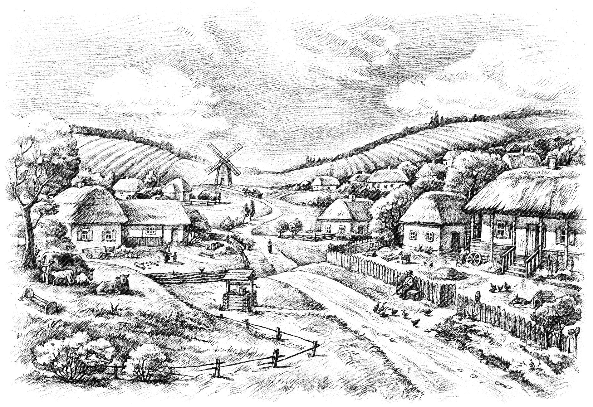 Пейзаж села Молдаванского ©Иллюстрация Ксении Гущиной